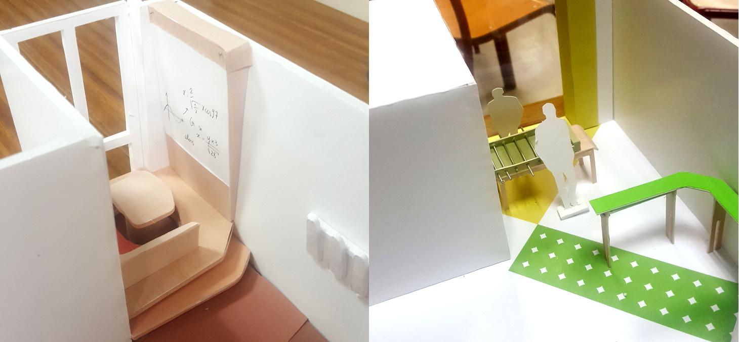 Extraits des maquettes produites par les étudiants pour présenter leurs projets d'aménagement du DLST