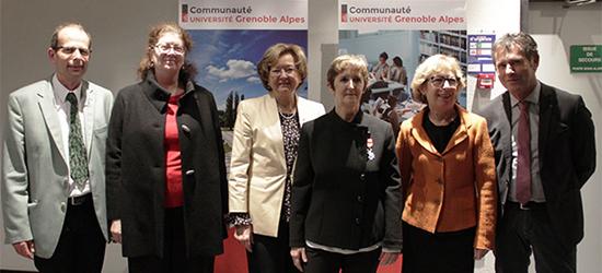 De gauche à droite : Philippe Cinquin, Lise Dumasy, Renée Grillot, Jocelyne Troccaz, Geneviève Fioraso, Patrick Lévy
