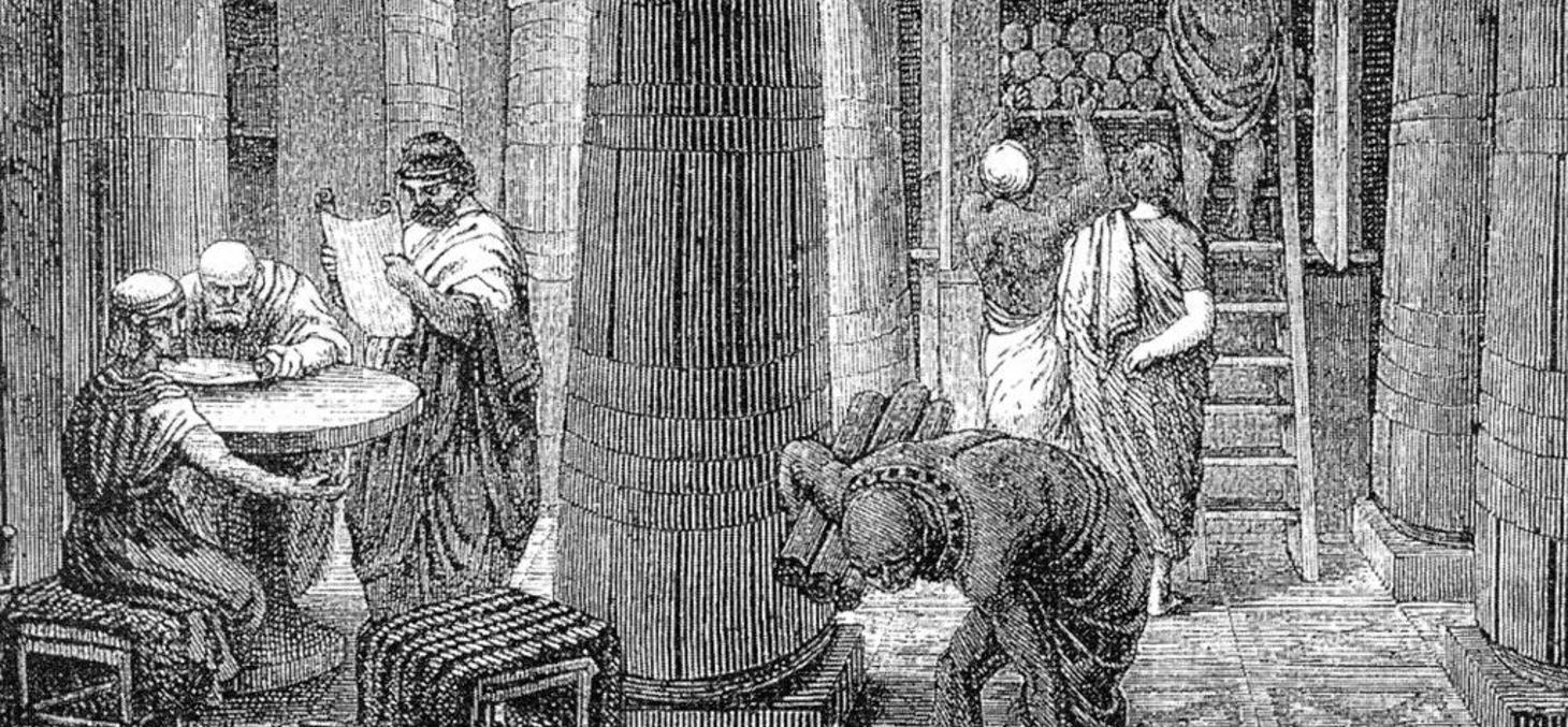 Évocation de la bibliothèque d'Alexandrie sur une gravure du XIXe siècle. Wikipédia