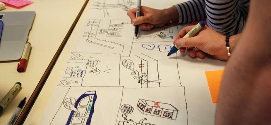 Travail lors d'un atelier de créativité. © Promising.fr