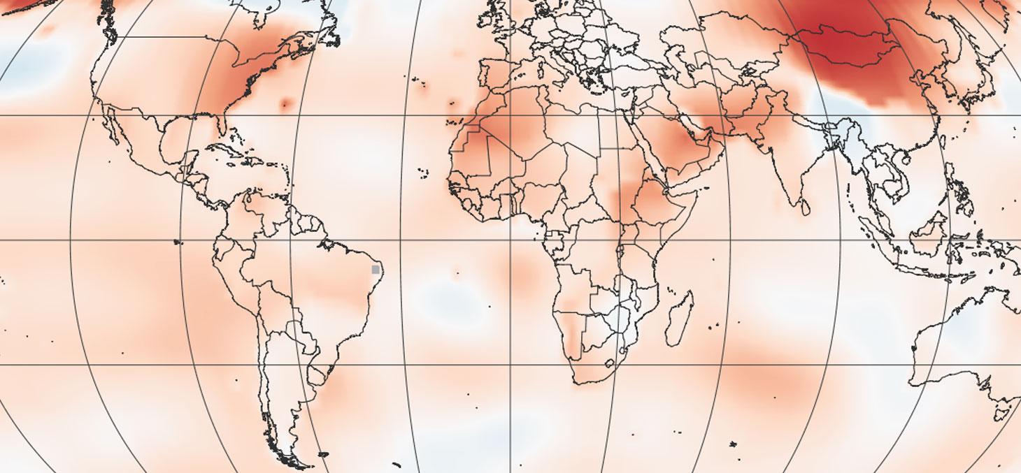 Détail d'une carte de la NASA montrant des anomalies de températures pour avril 2017. Il s'agit d'un des mois les plus chauds jamais observé sur la planète. © NASA