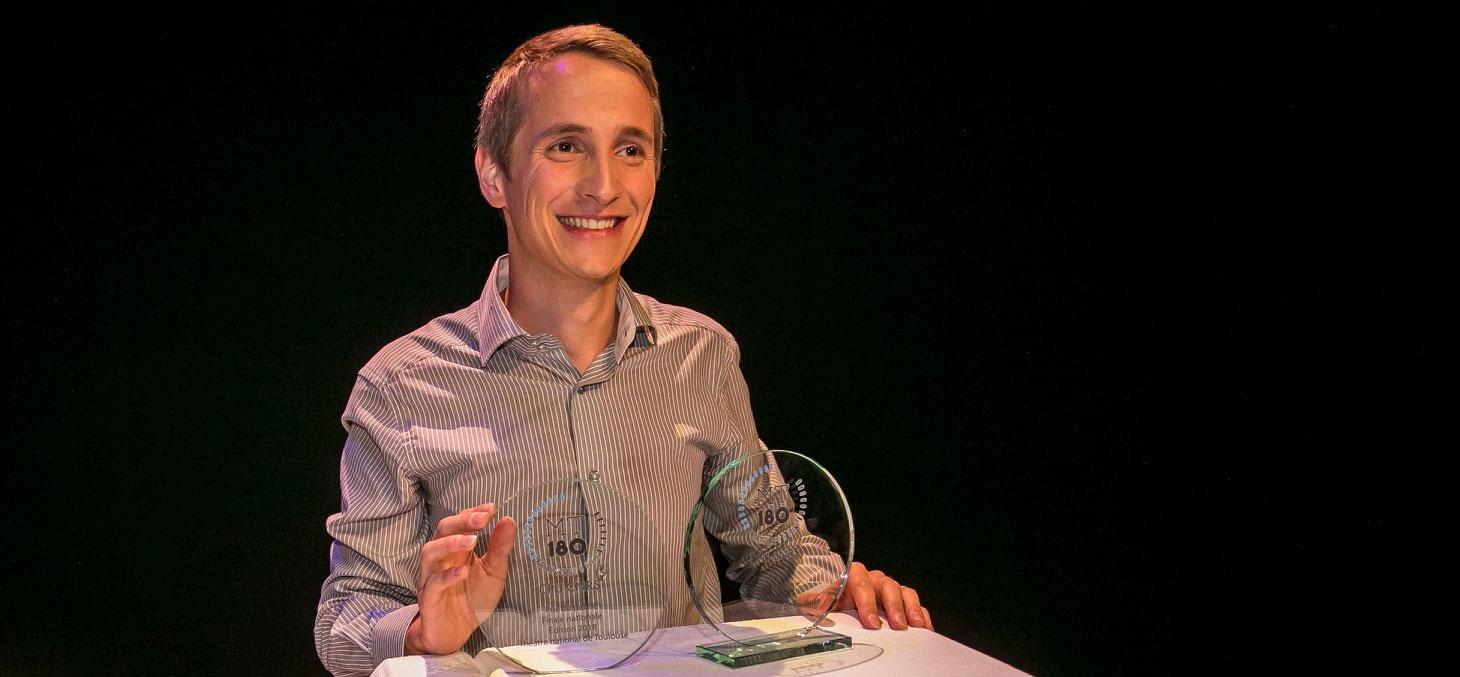 Philippe Le Bouteiller, finaliste français du concours MT180 en 2018 © MT180 / CPU-CNRS