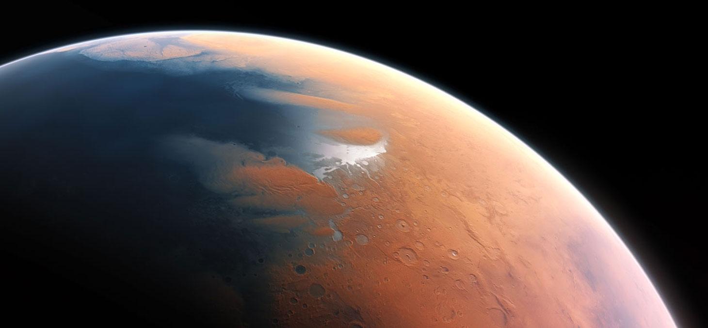 Vue d'artiste de la planète Mars il y a 4 billions d'année © European Southern Observatory