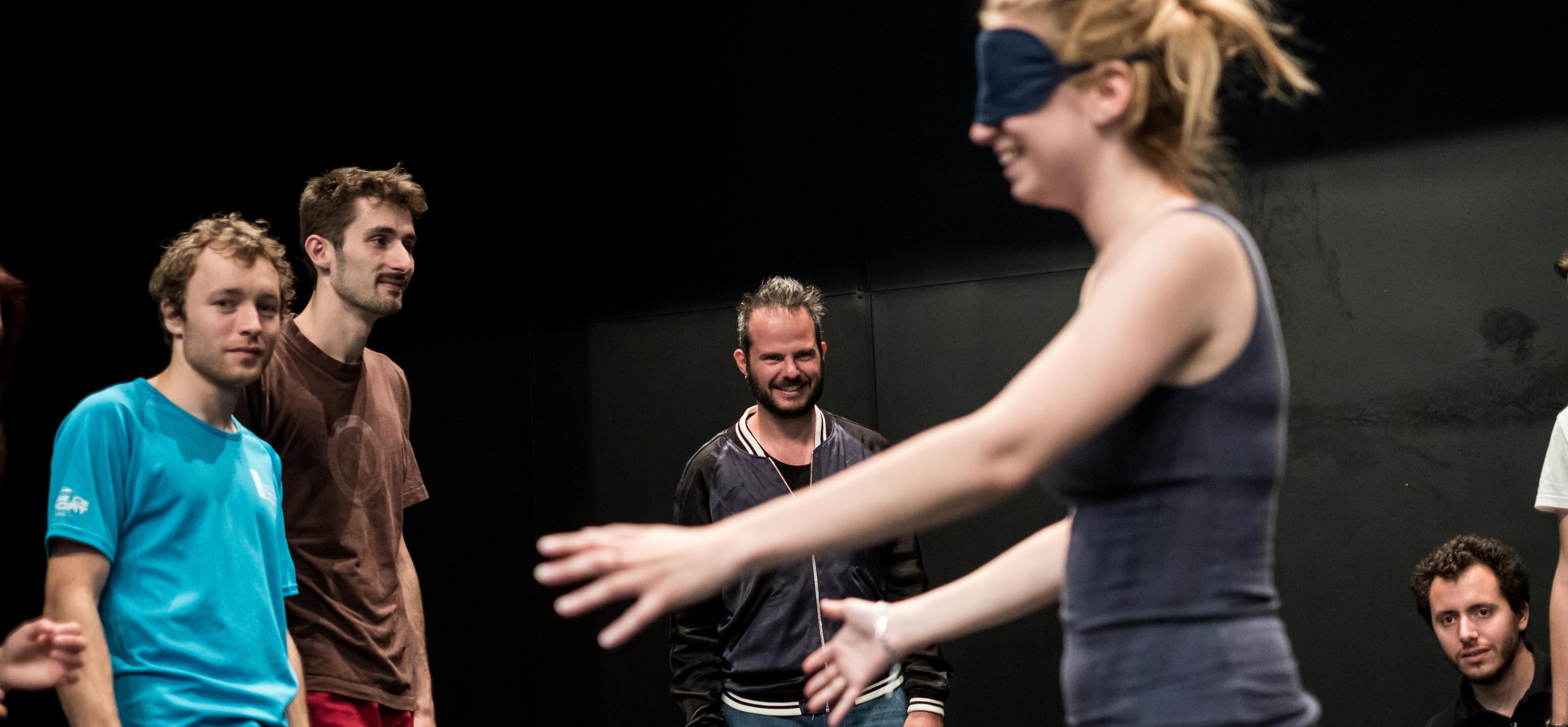 Yoann Bourgeois (au centre) à EST, lors de l'Atelier du joueur, le 12 avril 2017 © Pablo Chignard