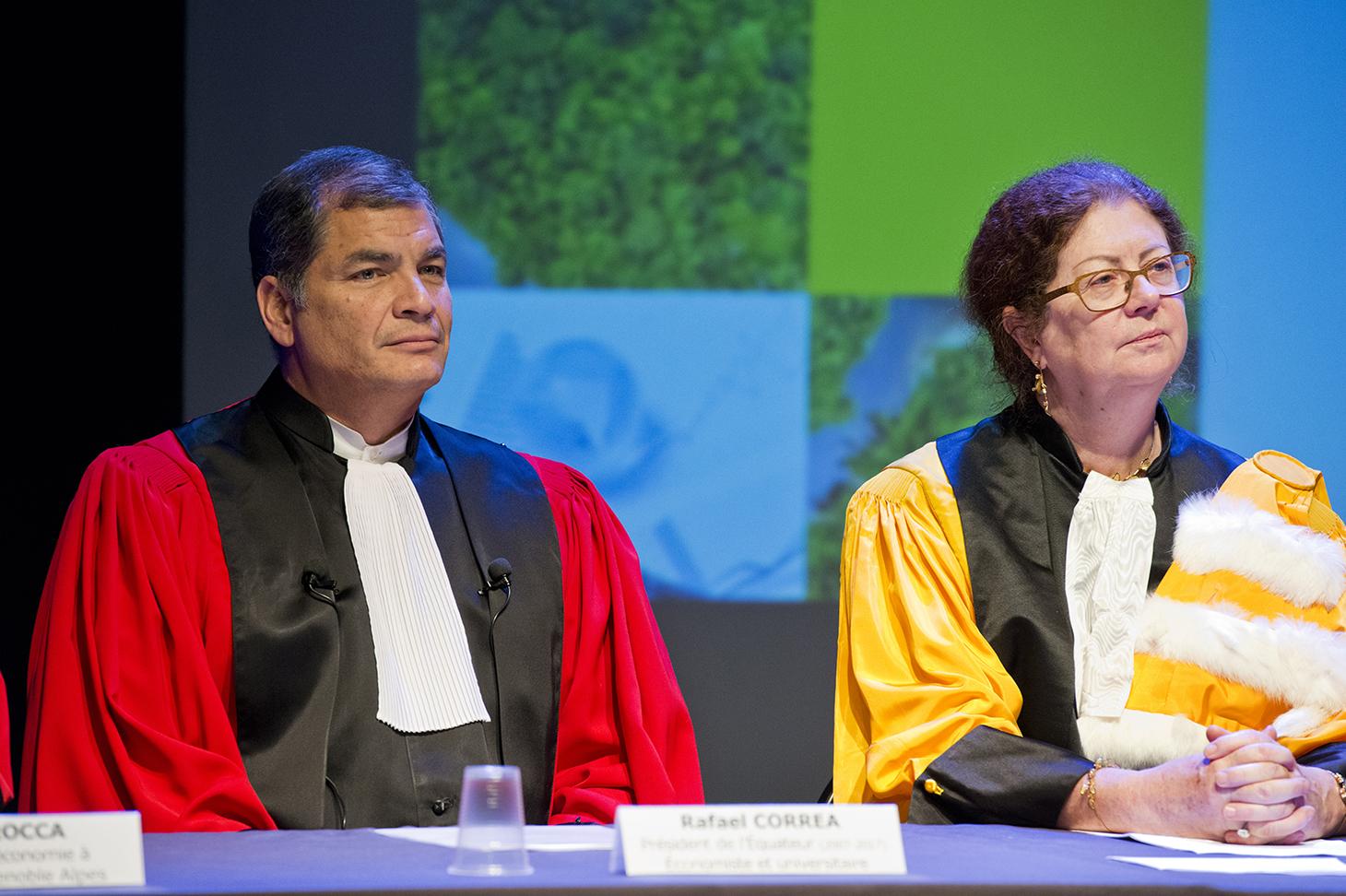 Cérémonie Docteur Honoris Causa 2017 - Rafael Correa et Lise Dumasy, présidente de l'UGA