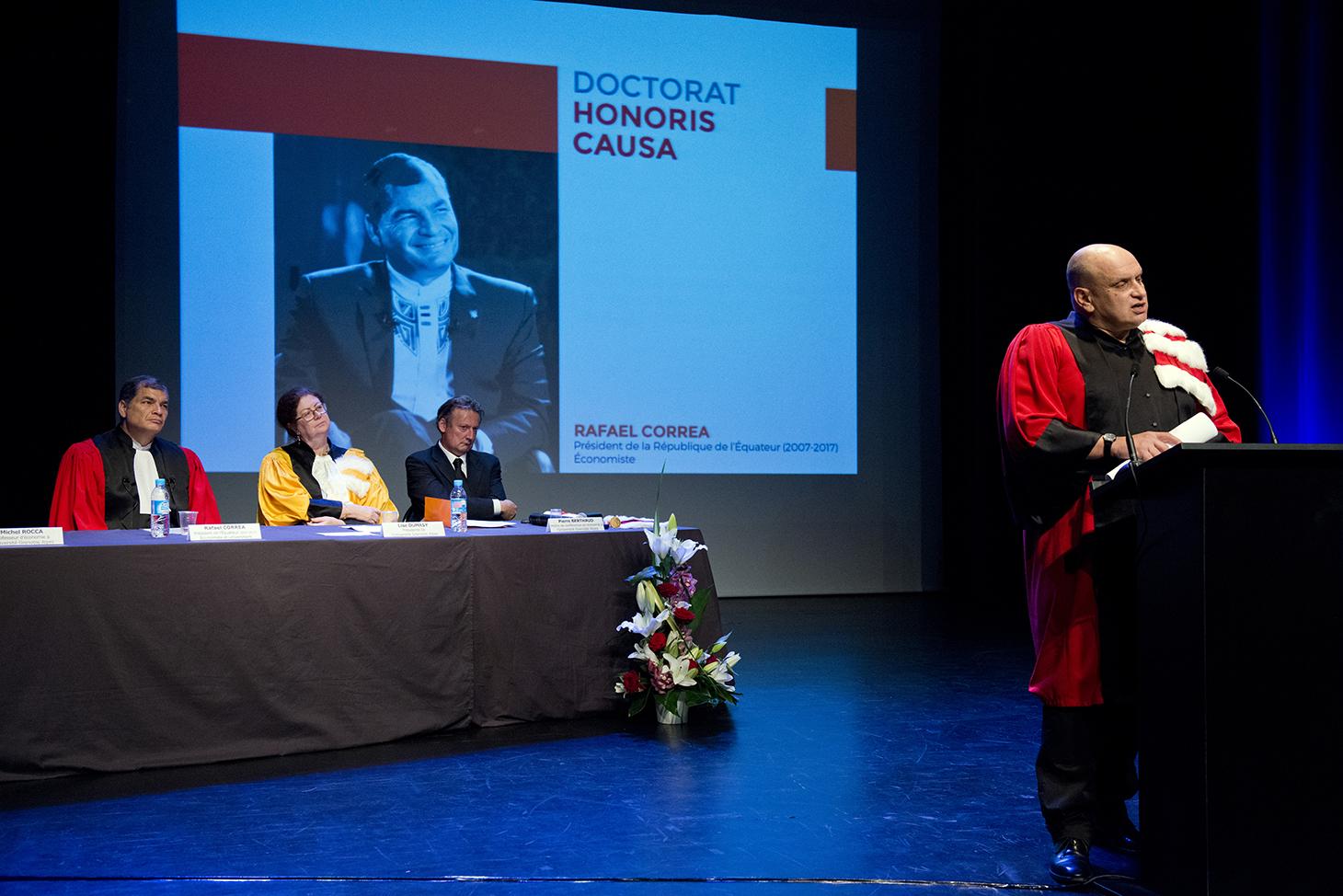 Éloge de Rafael Correa par son parrain Michel Rocca, professeur d'économie à l'UGA