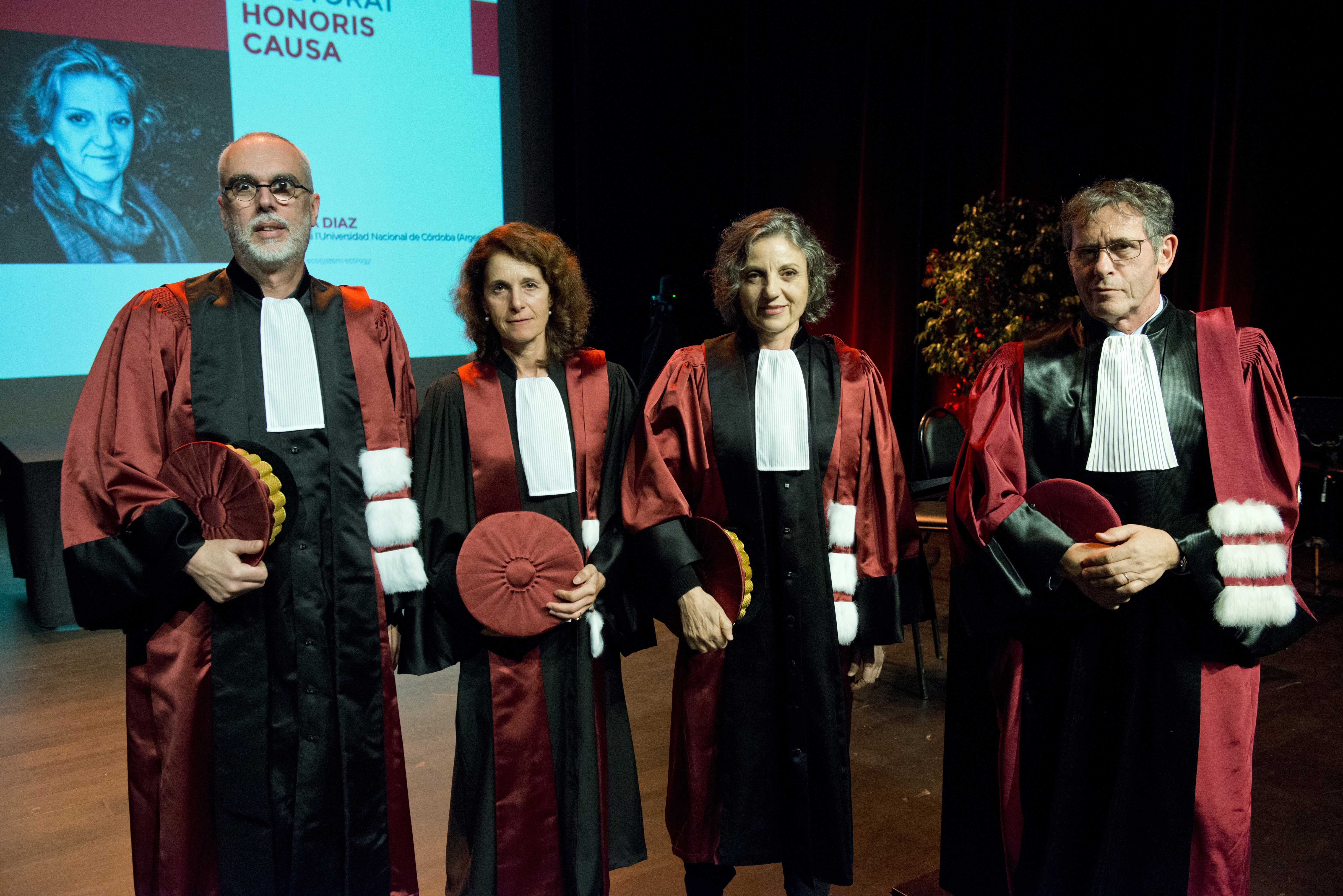 Sandra Díaz entourée de son parrain, François Pompanon, Sandra Lavorel et du président de l'UGA