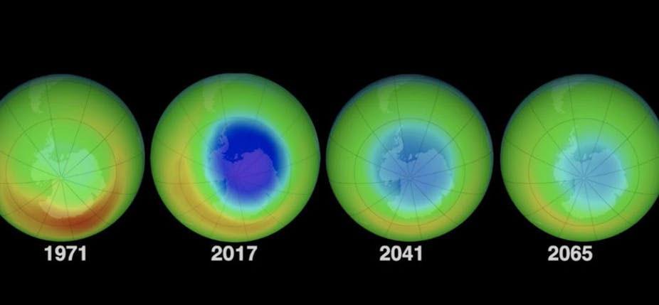 Évolution prévue du trou dans la couche d'ozone. © Nasa