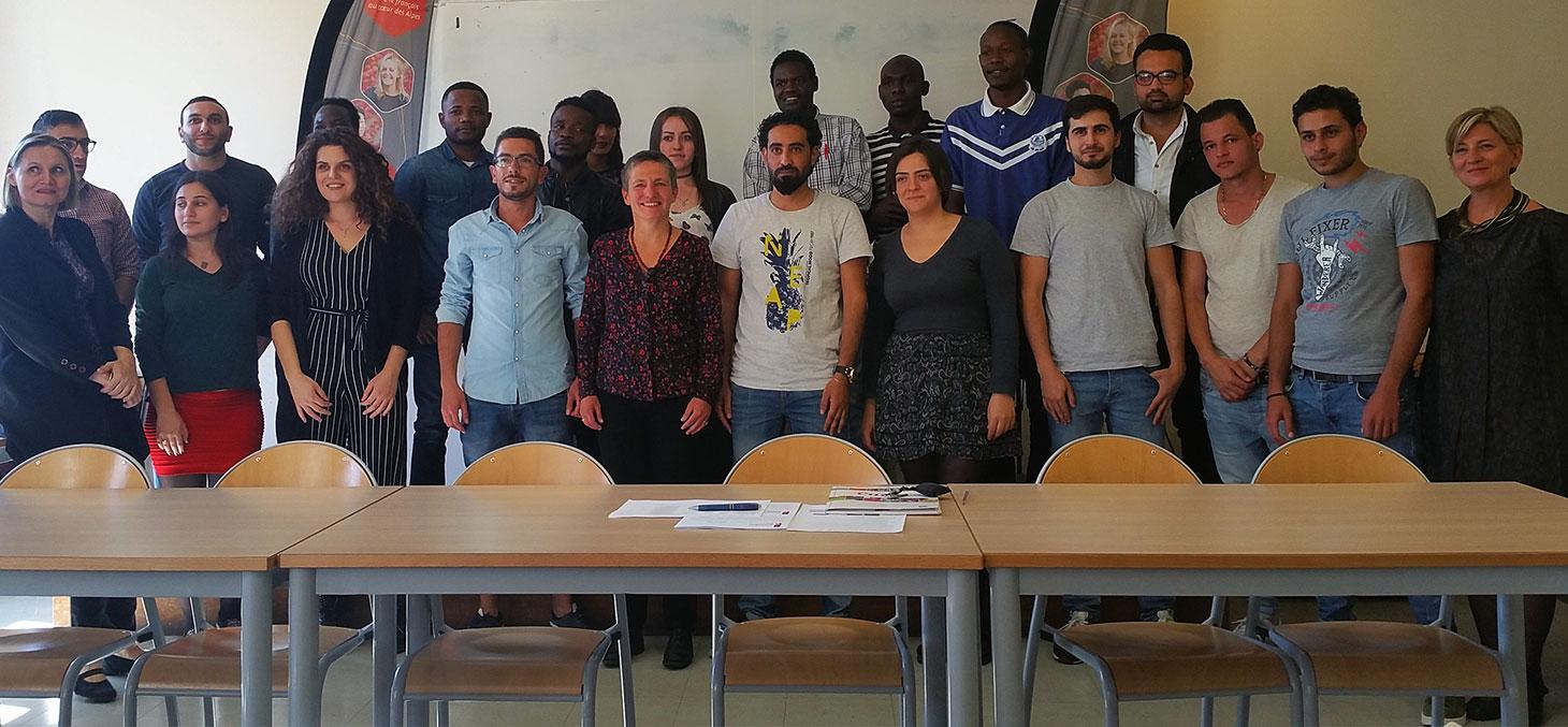 Les étudiants réfugiés du CUEF lors de leur rentrée le lundi 9 octobre 2017