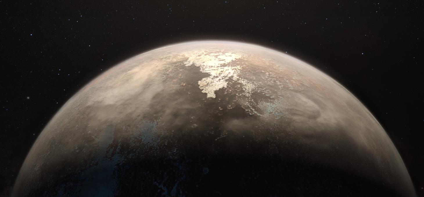 Vue d'artiste de la planète Ross 128 b © ESO / M. Kornmesser