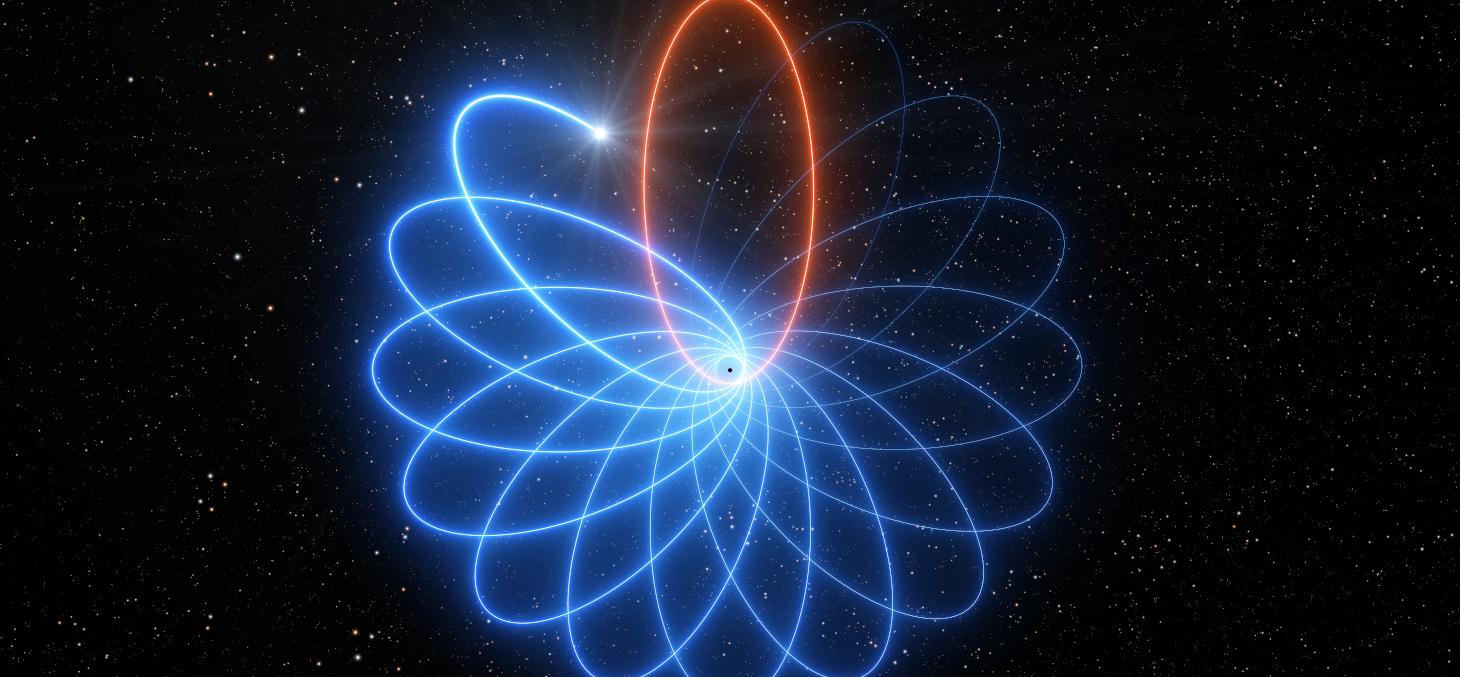 Vue d'artiste de la précession de Schwarzschild © ESO/L. Calçada