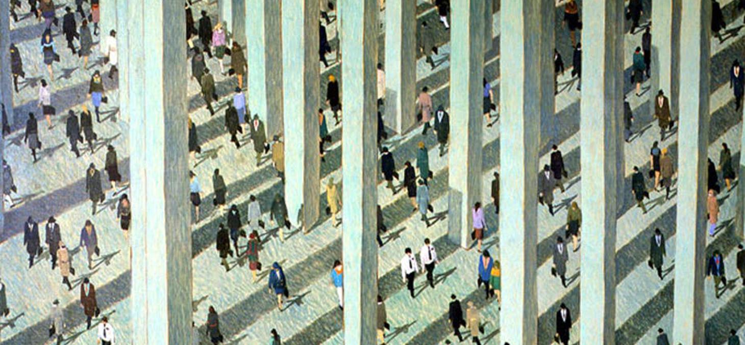Une foule peinte par Jean-Pierre Stora. L'agora des arts