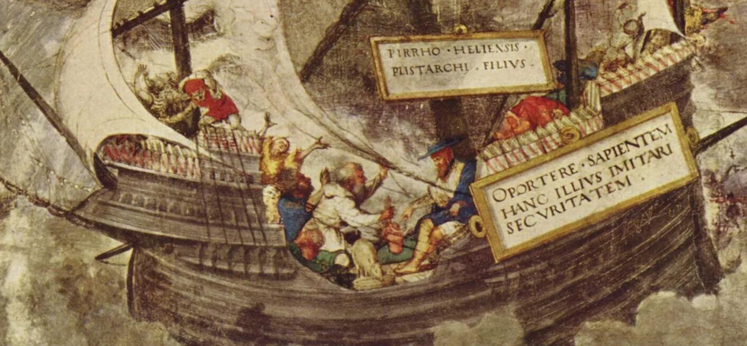 Le philosphe Pyrrhon d'Elis impassible dans la tempête. Wikipédia