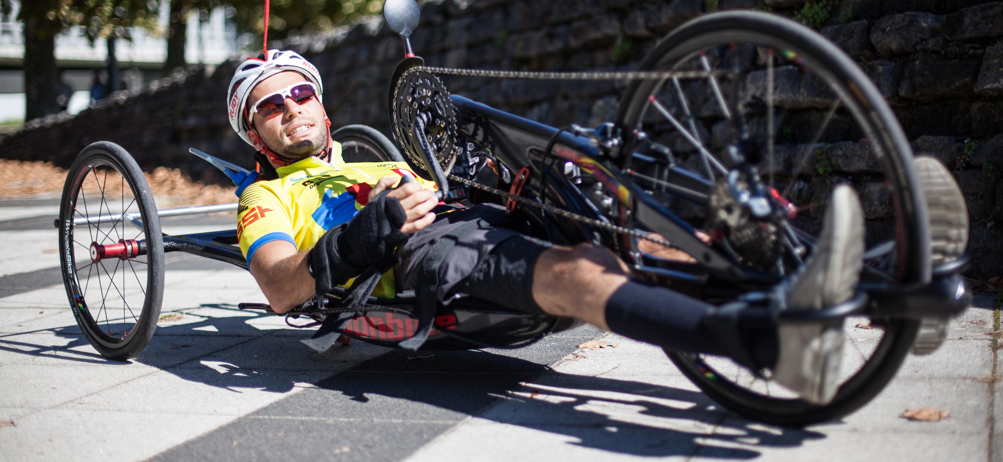 F. Jouanny, sur son handbike, avant l'Ironman