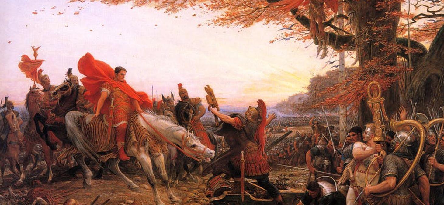 Germanicus devant les restes des légions de Varus, par Lionel Royer, 1896, musée du Mans. Wikimédia