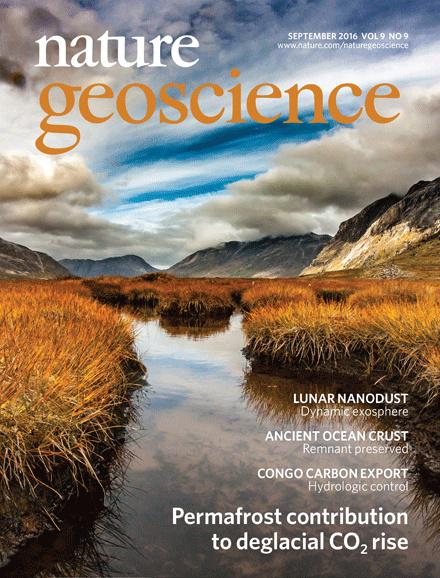 Couverture Nature Geoscience - article sur les sols gelés - Permafrost