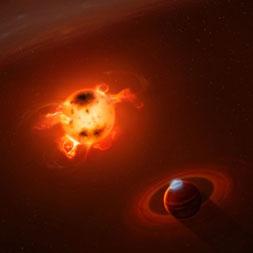 Vue d'artiste d'une jeune planète géante à proximité immédiate d'une étoile en formation